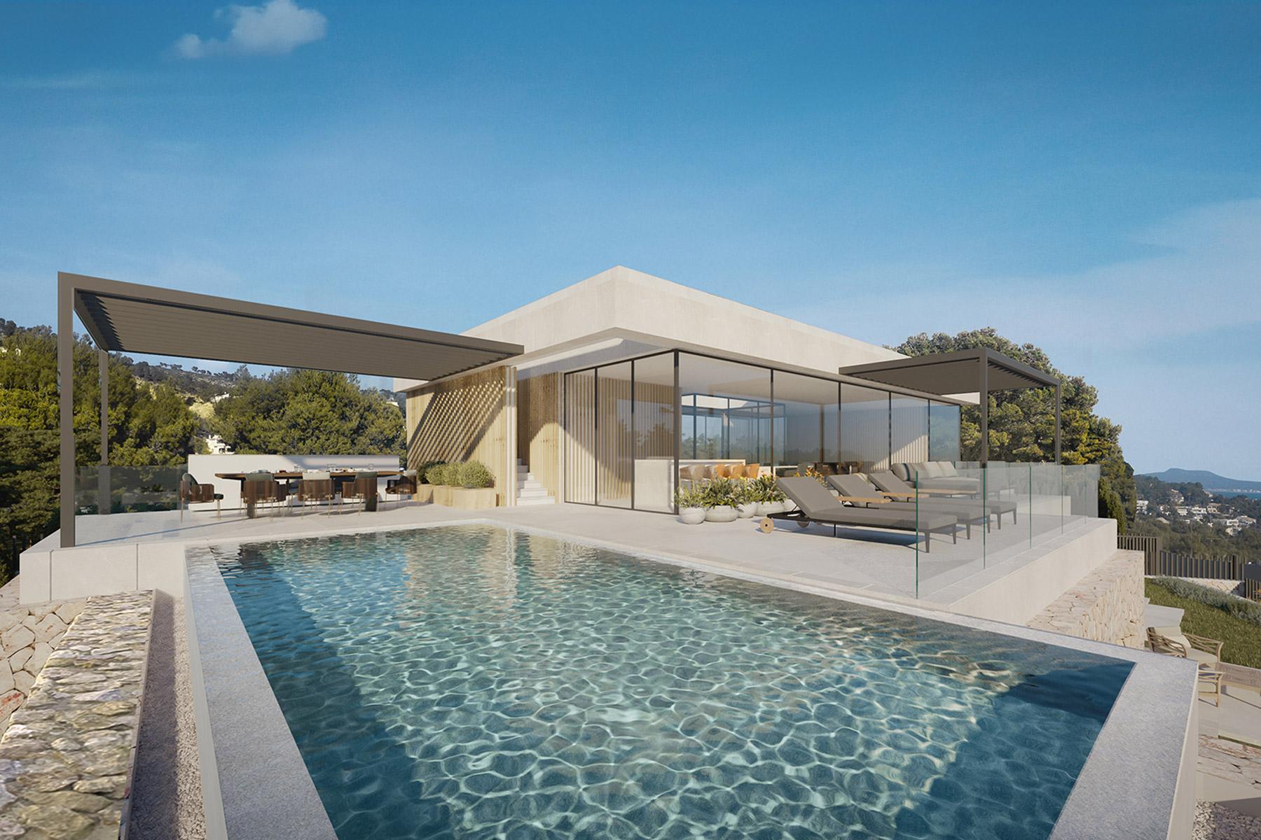 Neubauvilla mit Infinitypool, Meerblick und 4 Schlafzimmern in Costa d'en Blanes