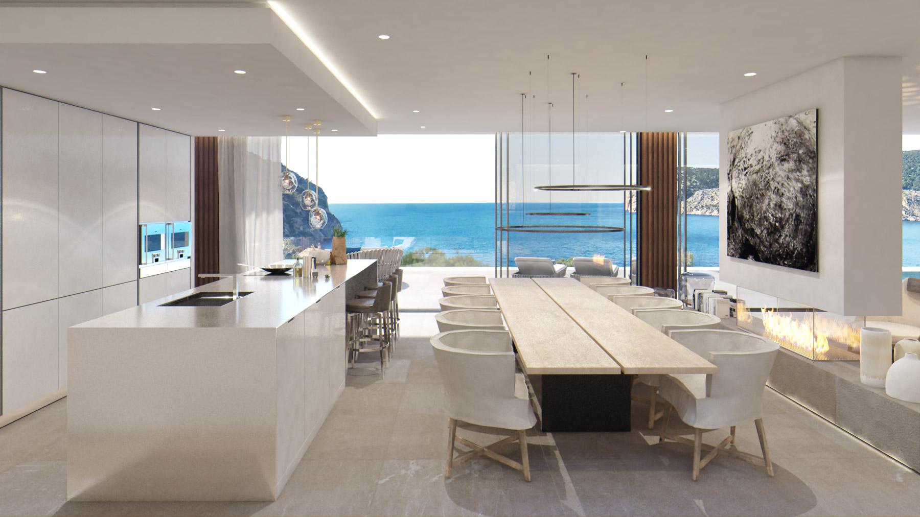 Großzügige Neubauvilla mit Meerblick und 5 Schlafzimmern in Camp de Mar